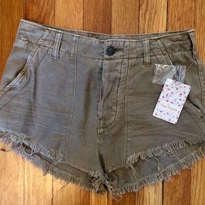 Free People Beige Standoff Cutoff Frayed Shorts